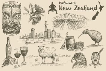 Hand drawn New Zealand Icons, vector
