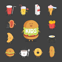 Set of cute cartoon fast food characters . French fries , pizza , donut , hot dog , popcorn , hamburger , cola , croissant and coffee mug .