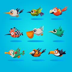 Funny Cartoon Birds, Illustration