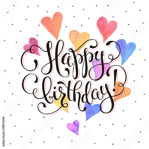 Happy Birthday Greeting Card Watercolor Hearts On White Background