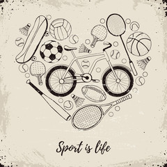 Collection of vector sport equipment. Sport is life vintage illustration. Hand drawn sport balls, rackets, bicycle in heart shape on retro background.