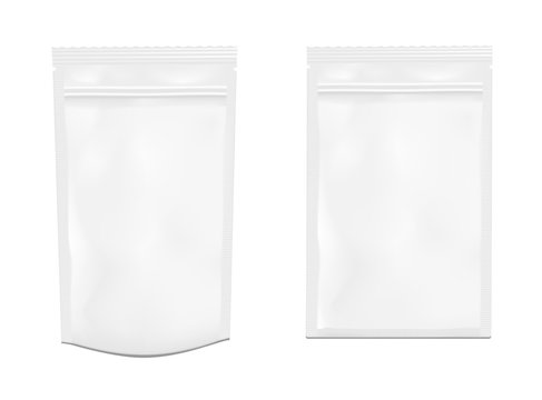 White empty plastic packaging with zipper. Blank foil sachet