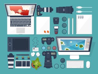 Photographer equipment on a table. Photography tools, photo editing, photoshooting flat background. Digital photocamera with lens. Vector illustration.