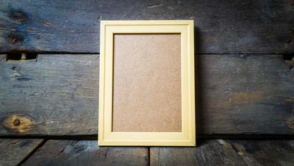Wooden Picture frame on Rustic background template