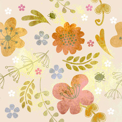 Floral rustic pattern grungy, watercolor