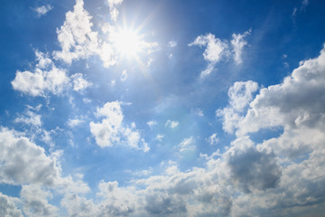 Blue sky with clouds and sun  beautiful
