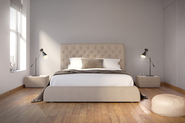 Contemporary grey bedroom with wood floor, front view