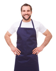 Happy..Happy man with blue apron