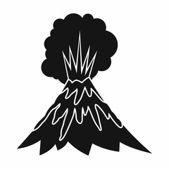 Volcano erupting icon in simple style isolated vector illustration