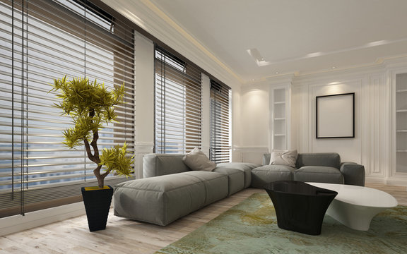 Fancy apartment living room interior with blinds
