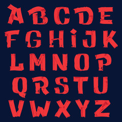 Hand drawn alphabet letters with grunge brush strokes.