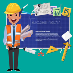 architect man with blueprint paper and tool. presentation - vector illustration