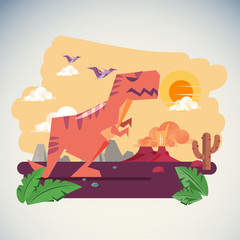 The Age of Dinosaurs with Volcano Eruption background - vector illustartion
