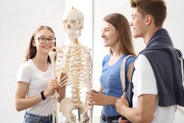 Szkoła, lekcja anatomii uczniowie oglądają model szkieletu