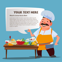Chef character presenting with Kitchen table and ingredients for