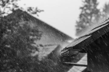 Falling rain on roof