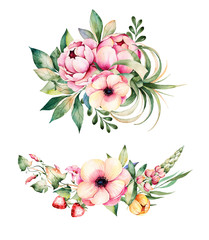Colorful floral collection with flower,peonies,leaves,field bindweed,branches,lupin,air plant,strawberry and more.2 beautiful bouquet for your own design.Perfect for wedding,invitations,blogs,patterns