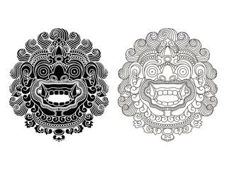 Mythological god's masks. Balinese style. Barong.