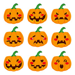 Cute Halloween pumpkin decoration making nine different funny face expressions