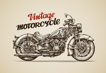 Vintage motorcycle. Hand drawn motorbike. Vector illustration