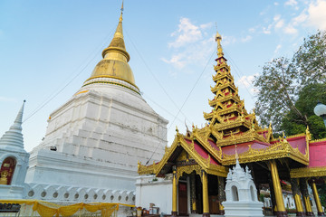 Thai Golden Buddhism Stupa. Buddishm pagoda in northen thailand.