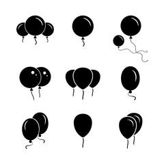 Black  party balloon icon on white background