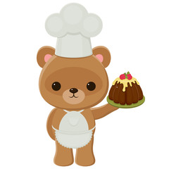 Cook teddy bear holding a cake