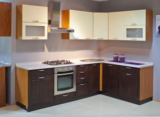 Empty wooden kitchen