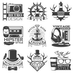 Black Hipster Emblem Set