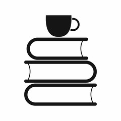 Stack of books and white cup icon in simple style isolated vector illustration
