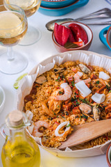 seafood and rice traditional spanish paella