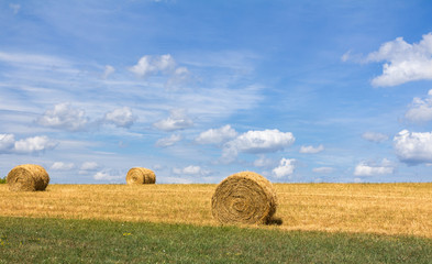 Round Hay Bales in a Field Against a Blue Sky with Clouds.