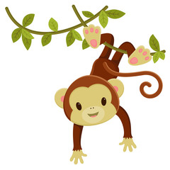 Cute cartoon monkey hanging on a liana. Vector clip art illustra