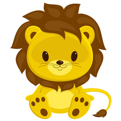 Cartoon vector illustration of sitting lion cub. Isolated over w