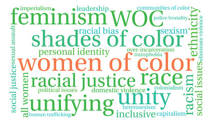 Women Of Color word cloud on a white background.