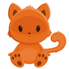 Little red-haired kitten. Cartoon illustration. Isolated over wh