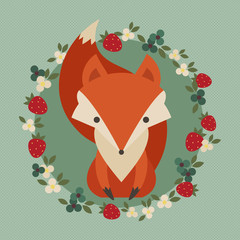 Retro illustration of cute fox with berries and flowers