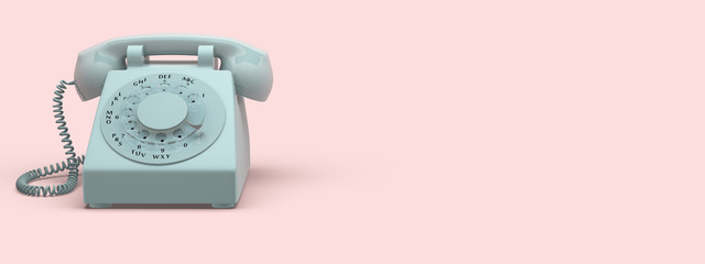 phone vintage on pink background. 3d rendering