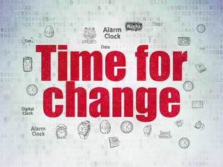 Time concept: Time for Change on Digital Data Paper background