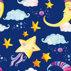 Watercolor fairy tale seamless pattern with magic sun, moon, cute little star and fairy clouds