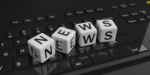 News on a black keyboard. 3d illustration