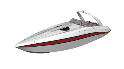Speed boat, vessel, boat isolated on white background