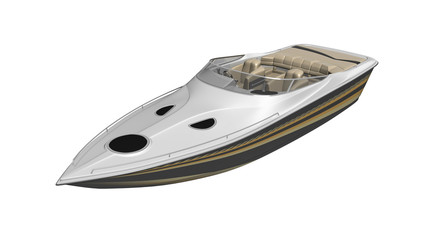 Speed boat, vessel, yacht isolated on white background