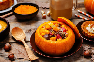List of pumpkin dishes. Pumpkin Latte; Pumpkin stuffed with meat