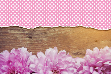 pink flowers on wooden background with copy space