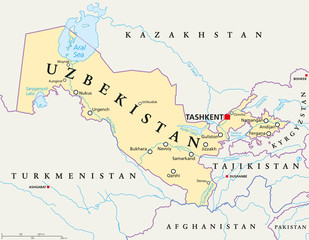Uzbekistan political map with capital Tashkent, national borders, important cities, rivers and lakes. Doubly landlocked country and republic in Central Asia. English labeling. Illustration.