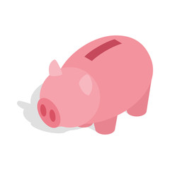 Piggy bank icon in isometric 3d style isolated on white background. Money save symbol