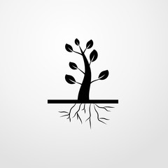 tree and roots icon. tree and roots sign
