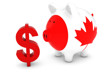Canadian Flag Piggy Bank with Dollar Symbol 3D Illustration