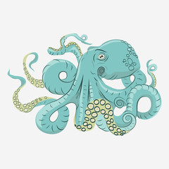 Octopus with curling tentacles